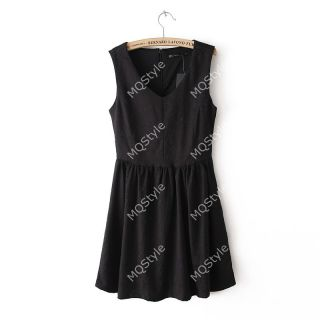 New Womens Fashion V Neck Sleeveless Pleated Hem Mini Dress 5 Colors B2765