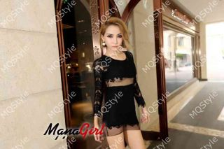 Womens European Fashion Crewneck Long Sleeve Hollow Sexy Lace Mini Dress E1025
