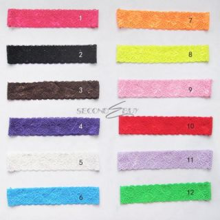12 Pcs Colors Kid Baby Girls Lace Wide Headband Hair Band Bow Headwear Accessory