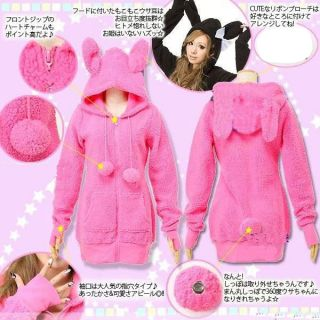 Cute Women Warm Fleece Coat Rabbit Ears Hoodie Outerwear Chic Long Sleeve Jacket