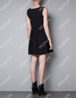 New Womens Fashion V Neck Sleeveless Pleated Hem Mini Dress 5 Colors