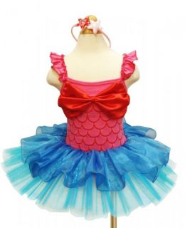 Girls Princess Mermaid Costume Ballet Tutu Fancy Dress Skirt Headband Sz 3 4
