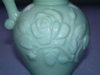 Vintage Avon Green Glass Slag Pitcher Decanter Stopper with Under Bowl