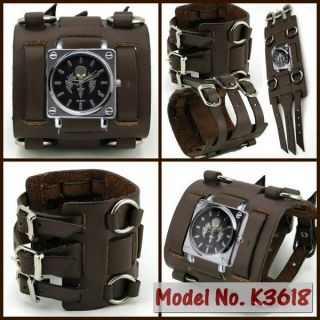 UK3618 Skull Sword Punk Watch Rock Gothic Men Women 7cm Wide Leather