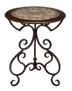 Wood Metal Round Accent Table Decorative Top