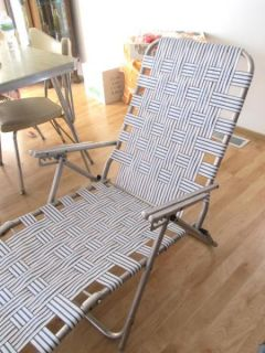 Vintage Aluminum Folding Webbed Lawn Chair Chaise Lounge New Webbing