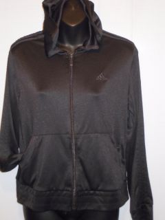 Adidas Clima365 Womens Black Zip Front Hooded Athletic Sport Jacket Pockets M
