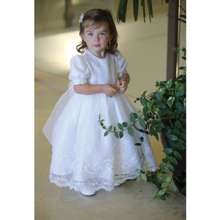 Angels Garment White Dress Size 12 Month Baby Girl Organza Sequin Baptism