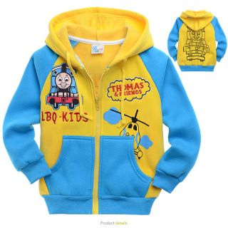 2 9 Year Toddlers Baby Kids Boys Thomas The Train Fleece Hooded Coat Tops HD8107