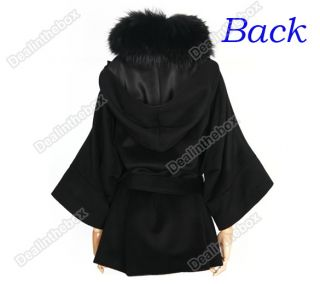 Women's Luxury Double Breasted Batwing Cape Poncho Fur Collar Hooded Coat Jacket