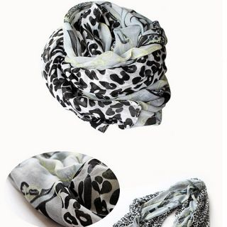 Women Lady Leopard Print Long Scarf Wrap Cotton Shawl Muffler Scarves Wraps T35