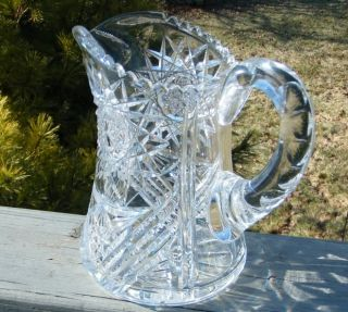 Antique American Brilliant Cut Glass Crystal Pitcher