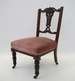 Antique Victorian Nursing Chair Mahogany Occasional Bedroom Chair Art Nouveau