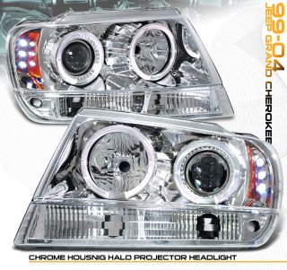1999 03 04 Jeep Grand Cherokee LED Halo Projector Headlight Front Lamps Chrome
