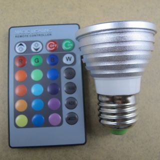 3W 85 265V E27 RGB LED Light Bulb IR Remote Controller 5 Modes 16 Colors