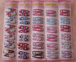New 6 Pairs Hello Kitty Girls Hair Accessories Hairpin Hair Clips