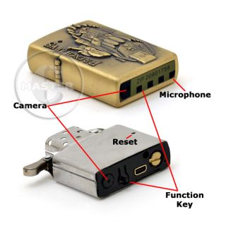 Gold Fire Lighter Hidden Spy Camera DVR Digital Video Voice Cam Recorder 4GB