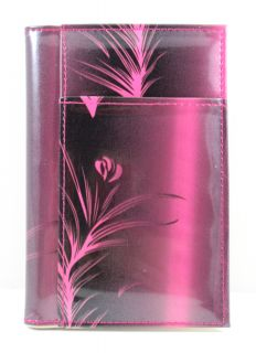 Pink Black Leaf Passport Cover Travel Document Holder Organizer
