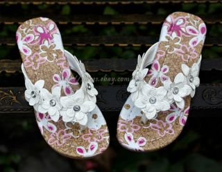 Girls White Floral Flip Flops Kids Sandals US Child Size 9 5 10 5 11 5 12 5 13