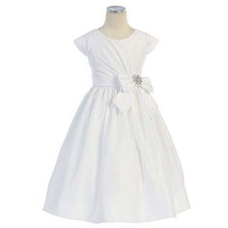 Sweet Kids Girls 7 White Satin Jeweled Bow First Communion Dress