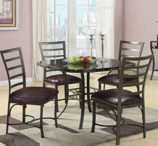New 5pc Danville Faux Marble Top Dark Gray Metal Square Dining Table Set