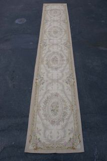 "2'7""x16'3"" Handmade Wool French Aubusson Flat Weave Runner Rug Brand New"