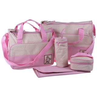 5pcs Pink Baby Diaper Nappy Changing Tote Handbag Big Bag Bags Pad Bottle Holder