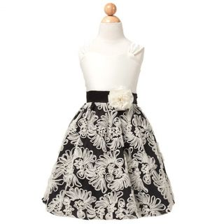 Sweet Kids Girls 2T Ivory Black Fan Embroidered Satin Christmas Dress