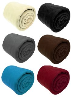 Luxury Warm Soft Large Fleece Sofa Bed Blanket Throw 10 Colours 3 Size Available