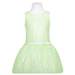 Sweet Kids Girls 4 White Lime Green Flower Bow Easter Dress