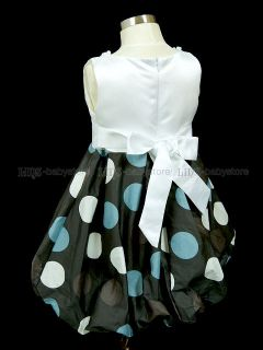 New Kids Toddler Girl D Green Dots Bubble Party Dresses Clothes 2 3 4 5 6 Years