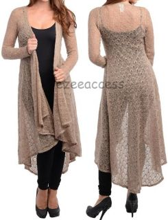 Sexy Womens Long Sleeve Cardigan Sweater Sheer Mesh Duster Coat Cover Up s M L