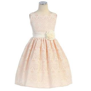 Sweet Kids Girls 8 Peach Vintage Lace Overlay Easter Dress