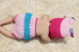 Handmade Knit Crochet Pink Hot Pink Owl Baby Hats Shoes Nappy Newborn Photo Prop