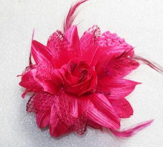 Dark Pink Feather Silk Screen Flower Clip Hair Bow Headband Baby Girl Decoration