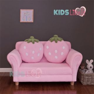 Brand New Kids Girls Pink 2 Seater Strawberry Sofa Couch w Cushion