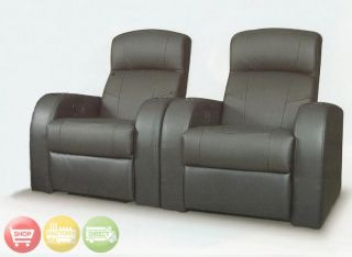 Home Theater Seating Reclining Black Leather Chairs New