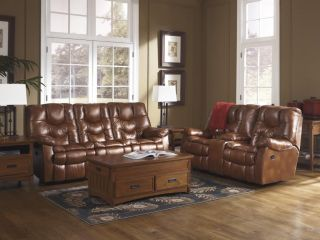 Ashley Vintage Casual Pillow Top Faux Leather Reclining Sofa and Loveseat Set