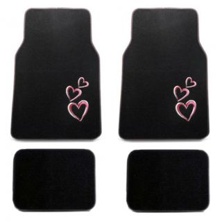 15pc Set Seat Covers New Love Pink Red Hearts Floor Mats Wheel Belt Head Pads