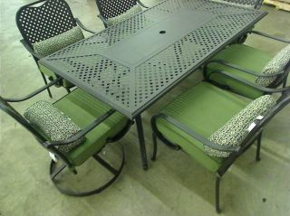 Hampton Bay Fall River 7 Piece Patio Dining Set with Moss Cushions $499 00 TADD