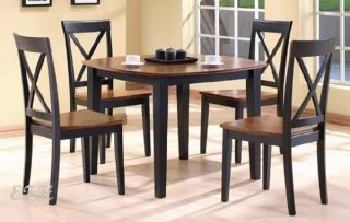 New Contemporary 5pc Square Two Tone Dining Table Set