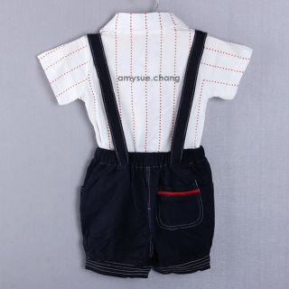 2pcs Baby Boy Top T Shirt Overalls Pants Shorts Set Outfit Clothes Bow Tie