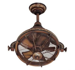 "New 16""w Antique LK Adj 1 Head Ceiling Fan Remote Without Light"
