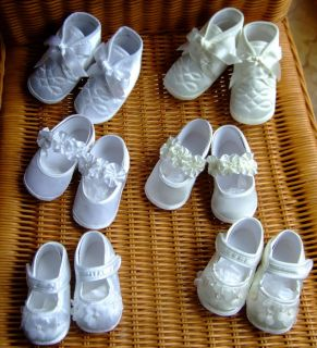 Baby Boy Girl White Ivory Christening Wedding Satin Pram Shoes Occasion