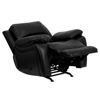 Flash Furniture Plush Black Leather Rocker Chaise Recliner Chair