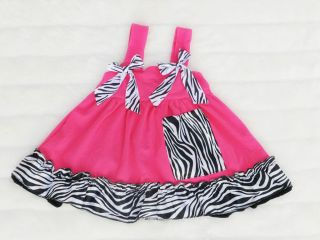 Baby Toddler Dress Set Animal Print Zebra Leopard Hot Pink Pants Headband M s XS