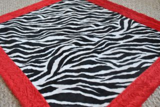 Zebra Animal Print Baby Girl Blanket Quilt Fabric Minky