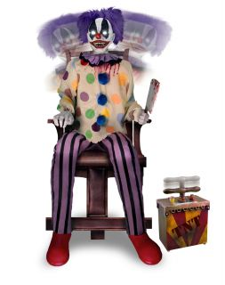 New Animated Animatronic Crazy Clown Carnival Evil Creepy Halloween Prop