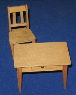 Vintage Dolls House Miniature Wood Dining Kitchen Single Drawer Table Chair