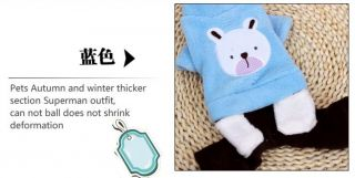 Autumn Winter Bear Fleece Dog Jean Clothing Coat Dog Jacket Sweater Clothes